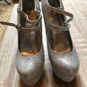 Bella Luna Shoes - Jasmine Silver Glitter Platform Heels